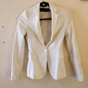 Zara white one button blazer jacquard pattern
